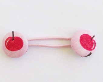Pink Cherry Ponytail Band, Cherries Fabric Button Hair Band, Elastic Hair Tie, Elastic Ponytail Holder, Hair Accessory, EclectiKIDS