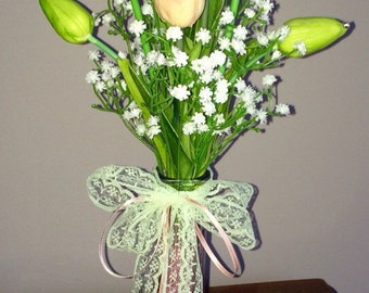 New real touch pu tulip & babies breath centerpiece bouquet with vase rhinestones lace satin ribbon green peach