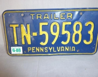 Vintage 1988 Pennsylvania Trailer License Plate