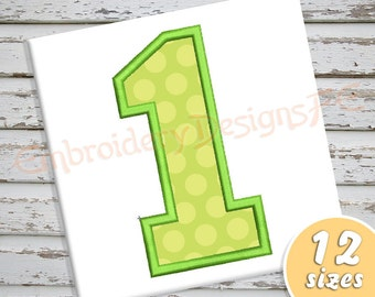 Number 1 Applique - 12 Sizes - Machine Embroidery Design File