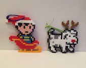 Earthbound Ness and King Perler Bead Christmas Ornaments