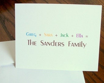 personalized family note cards, personalized notes, family note cards, family cards, name notecards, family notes