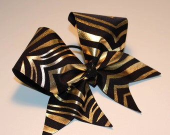 Black and Gold Cheer Bow