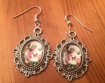 Vintage style butterfly pink silver dangly earrings