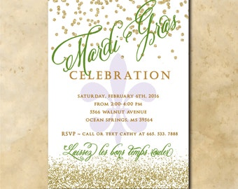 Mardi Gras Invitation printable/Digital File/mardi gras party, glitter, mask, digital mardi gras, fleur de lis/Wording can be changed