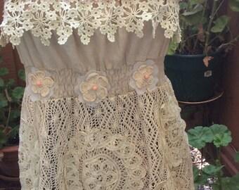 Warm Sand - Art to wear  Tunic Sundress Top Cotton Linen Shabby Boho Upcycle