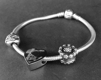 Photo Engraved Stainless Steel Heart Charm - Fits Pandora Bracelets & Bangles - Perfect Personalised Gift