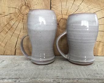 Set of Two Large White Mugs