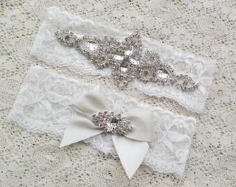 White lace crystal headband set - little girls, flowergirl, christening