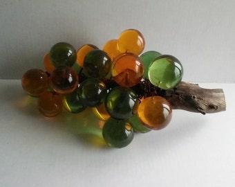 Cool 1960,1970 era green and orange/Amber glass grape cluster