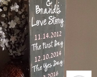 Our Love Story Pallet Sign.  wedding gift, anniversary gift, home decor, wedding sign, pallet sign, wood sign, wedding idea, love decor.