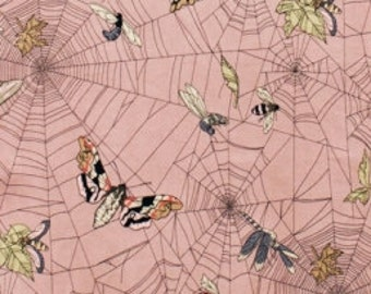 Eerie Moth and Web Fabric - The Ghastlies by Alexander Henry - A Ghastlie Web in Mauve - Fabric By the Half Yard