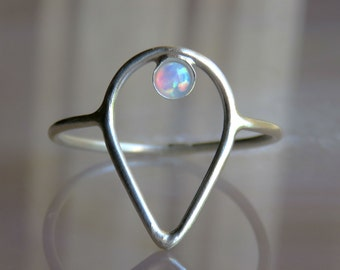Unique Silver Ring, White Opal Ring, Silver Gemstone Ring, Silver Rings For Women