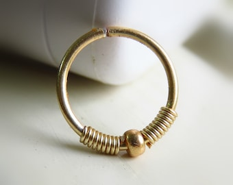 gold fill septum hoop ring - gold fill nose hoop ring
