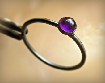 Amethyst Ring - Oxidized Amethyst Ring - Silver Amethyst Ring - Silver Amethyst Stacking Ring