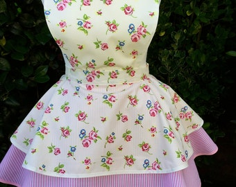 Pretty Cream and Pink floral vintage style 2 tier apron.  Great gift