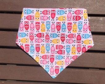 Pink owl bib, owl bib, pink owl bandana bib, pink owl bibdana, owl drool bib, pink owl baby gift, pink owl baby shower