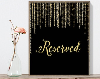 Reserved Sign DIY / Elegant Gold Wedding Sign / Great Gatsby, Bokeh String Light / Black and Gold Calligraphy ▷ Instant Download JPEG