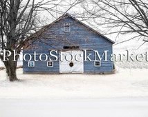 Snow Farm Background - Digital Background -  Photography Backdrop - Photoshop - Christmas backdrop - Old Barn - Blue Barn