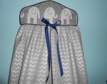 Elephant, Gray Chevron, Diaper Stacker