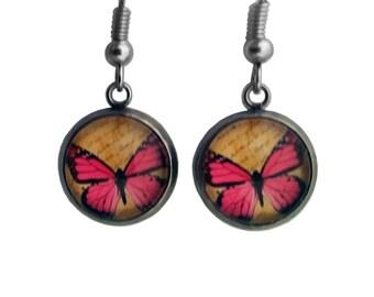 Pink Butterfly and Script Earrings