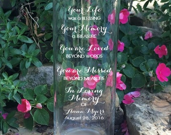 Memorial Vases - In Loving Memory Vase - Floating Memorial Candle - Memorial Candle - Engraved Memorial Cylinder - Your Life was a Blessing