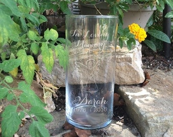 Memorial Vases - In Loving Memory Vase -Floating Wedding Memorial Candle - Memorial Candle - Engraved Memorial Cylinder - Angel
