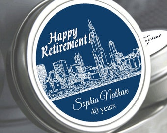 """12 Cityscapes Retirement Mint Tins - Select the quantity you need below in the """"Pricing & Quantity"""" option tab"""