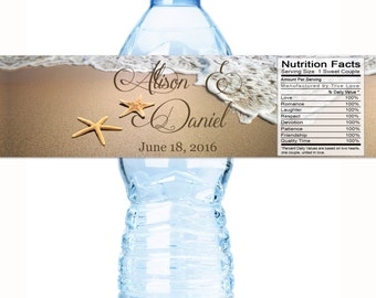 Starfish Water Bottle Labels - Beach Water Bottle Labels - Beach Themed - Starfish Wedding - Starfish Labels - Wedding Water Bottle Labels