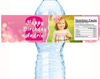 Girl Birthday Water Bottle Labels - Girls Birthday Favors - Girls Birthday Party Ideas - Little Girls Bottle Wraps - Photo Labels