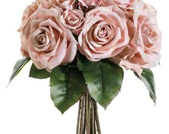 Vintage Velvet Rose Silk Wedding Bouquet - Silk Flower Wedding Bouquet