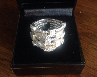 Sterling silver 5 row confetti ring. With crystals