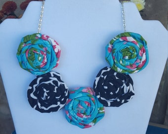 Rolled Rosette Fabric Flower Rosett Statement Necklace Blue, Pink, Black