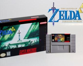 SNES Legend of Zelda: Parallel Worlds Super Nintendo Game Cart & Box NTSC