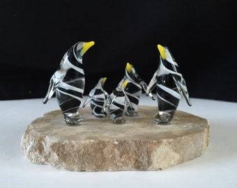 Handblown Glass Penguin Family with 3 Babies Sculpture