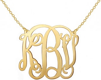 "Gold 2.5"" Monogram Necklace  Sterling  Silver gold plated Monogram Necklace 2.5 Inch Personalized Monogram 925 sterling silver"