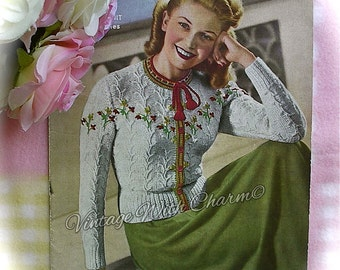 Vintage 1950's Knitting Pattern Copy For A Lady's 'Tryolean' Style Jacket. Fit 36-37in. Bust