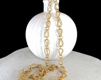 Gold Tone Chain Necklace Gold Tone Loop Chain Necklace Chain Link Necklace Fold Over Loop Chain