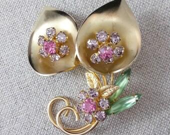 Spring Flowers /Brooch / Vintage / Pink / Lavender / Green / Rhinestones
