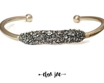 """ORIGINAL Crushed Stone, Pyrite """"Fools Gold"""" Cuff Bracelet, Gold bracelet,  adjustable cuff bracelet. Crushed Mineral cuff, dainty bracelet,"""
