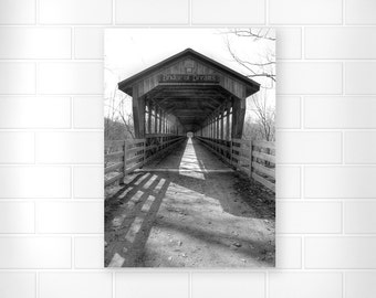 Country Home Decor - Black and White - Rustic Home Decor - Covered Bridge