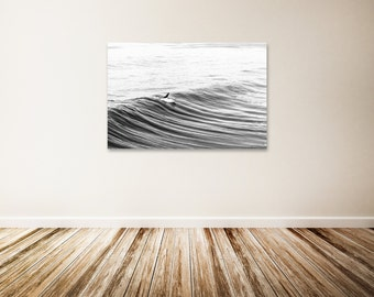 "Surf Canvas Art, Black and White Ocean Art, Surfing, Surfboard, Ocean Photography, Surf Decor, Beach Wall Decor - ""Morning Glide"""