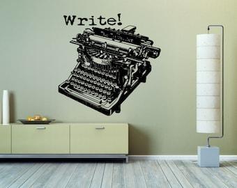 Wall Vinyl Sticker Decals Mural Room Design Pattern Art Decor Old Fashion Write Printing Machine Retro Letters bo2200
