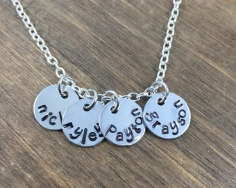 Personalized Mother's Necklace - Hand stamped Family Necklace -Children's Name Necklace -Mother's/Grandmother Charm Necklace - Mom Gift