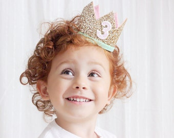 3rd Birthday Crown | Third Birthday Girl | 3rd Birthday Outfit Girl | Birthday Hat | Third Birthday Outfit Girl | Gold Pink Mint