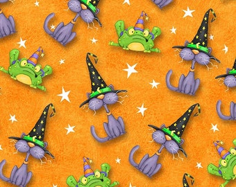 Toil & Trouble by Henry Glass - Cats and Frogs Orange - Cotton Woven Fabric