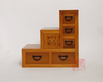 teak wood step chest, Japanese style kaidan dansu.