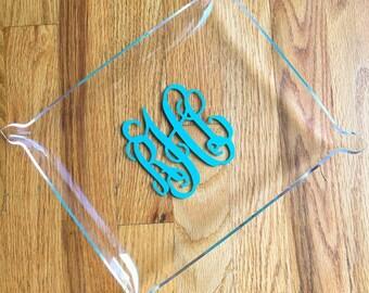 Monogram Acrylic Jewelry Dish - Jewelry Tray - Personalized Gift - Christmas Gift - Bridal Gift - Monogrammed Tray - Trinket Tray Catchall