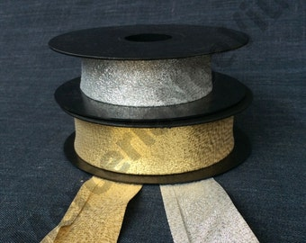 """1""""bias tape gold lame silver"""