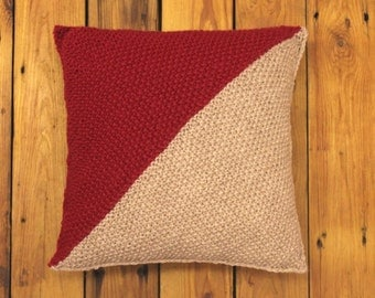Knitted Cushion. Textured Knit Throw Pillow. Wool and Linen. 33cm Square. Deep Red and Oatmeal. Complete with Filler